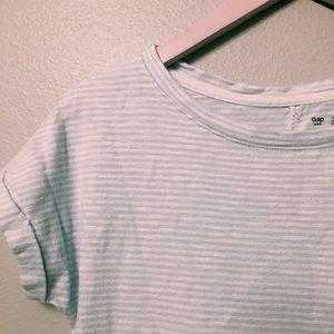 BLUE AND WHITE STRIPED GAP T-SHIRT DRESS